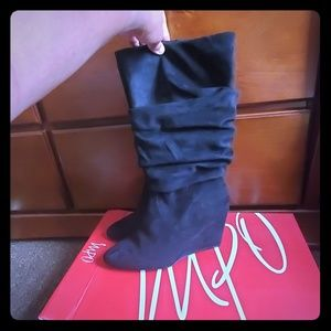 Impo Black wedged slouch boots